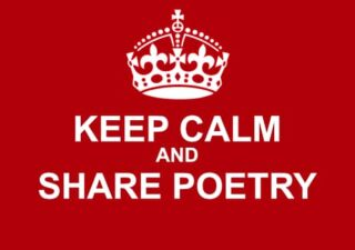 White text in block capitals on red background - poster of Keep Calm and Share Poetry (with a little crown above the text)
