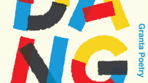 Crop from cover of RENDANG by Will Harris, bright red blue and yellow letters on white