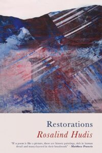 Book cover of Restorations by Rosalind Hudis. It's abstract art, or maybe a picture of mountains, in blue and dark red against pale pink.