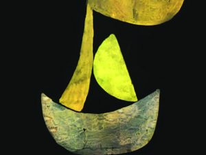 Part of the front cover of The Out-Islands by Martin Edwards showing what looks like an abstract yellow boat