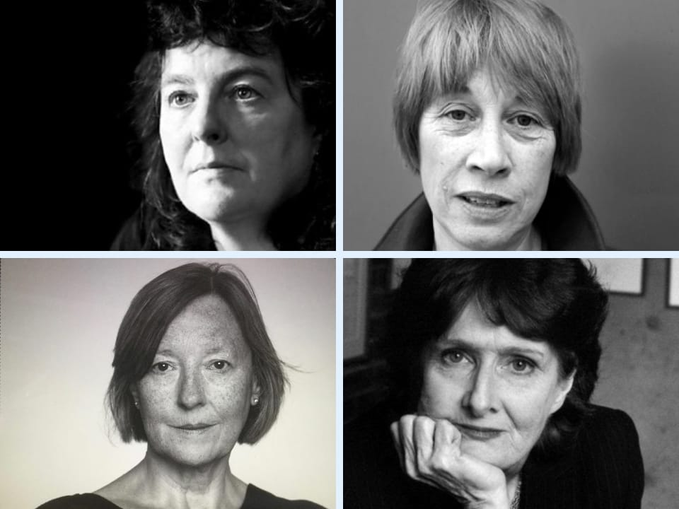 Black and white image showing four female poets, Carol Ann Duffy, Penelope Shuttle, Linda France and Evan Bolan. They all look poetically pensive