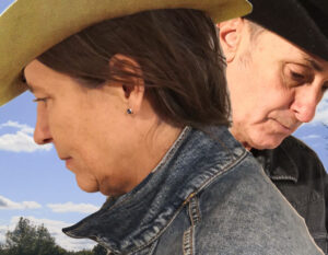 Editors of The Friday Poem dressed up to look like the poster from Brokeback Mountain
