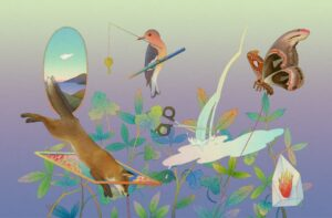 Pastel picture of a fox, birds, butterflies and a mirror reflecting the sea.