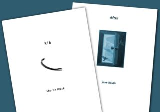 Two books with mostly white covers. one cover has a blackened rib, the other a small picture of a blue open door